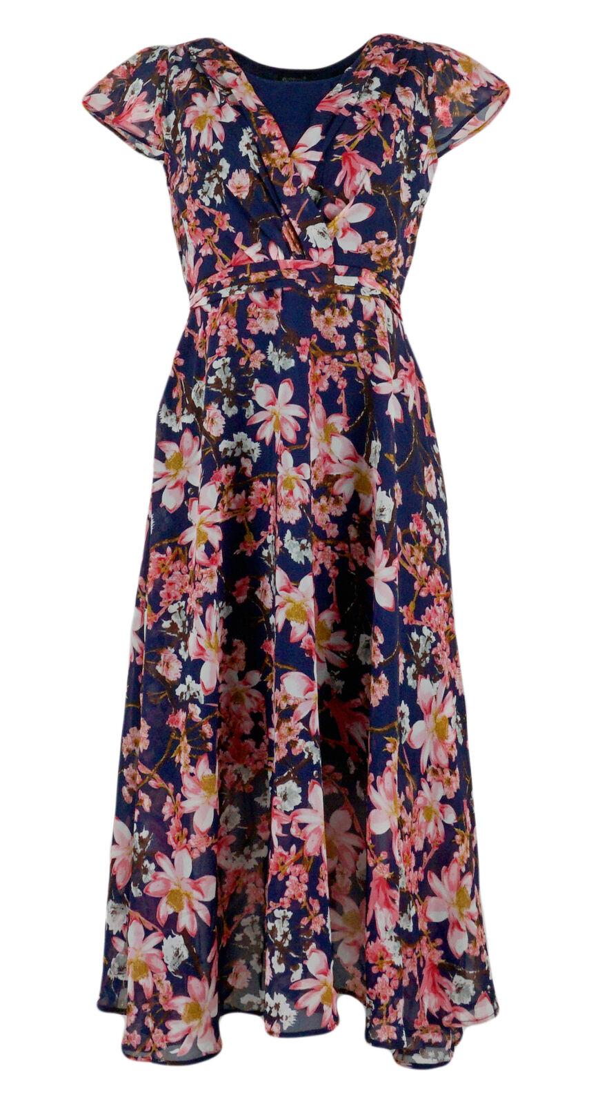 Damen SOMMERKLEID Blumenkleid Kleid Strandkleid Beachwear blau mit Blumen