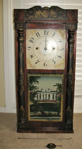 Antique George Mitchell Pillar & Scroll Clock ~ c1825-1830 ~ Bristol Connecticut