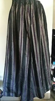 Antique Victorian Unusual Purple Black Grey Striped Light Bustle Skirt Mourning
