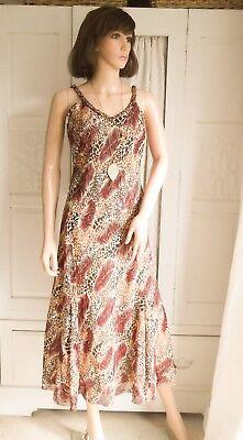 print beaded chiffon fish tail bias dress Party Evening 12 (Leopard Tail)