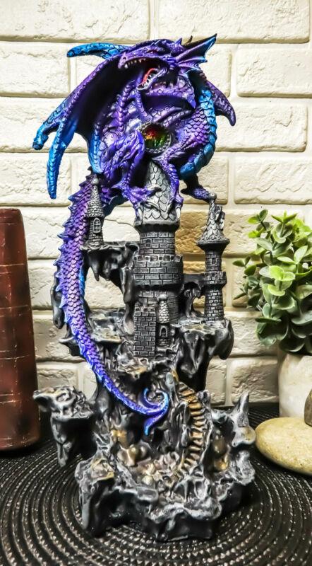 "Ebros Hyperion Gemstone Midnight Dragon Protecting Stone Castle Figurine 11.75""H"