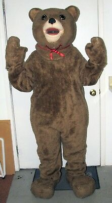 Teddy Bear Mascot Costume 6 Pc Lt. Brown Faux Fur Suit Head Mitts Feet - Bear Suit Costume