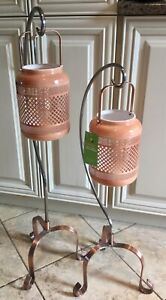 2 heavy Stainless Steel Copper base Floor Stands & Lanterns