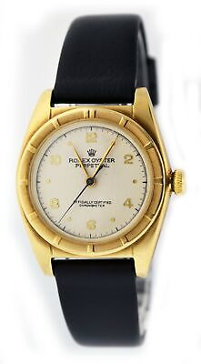 Vintage 1950s Rolex Bubble Back Ref 5015 32mm 14k Yellow Gold Automatic Watch