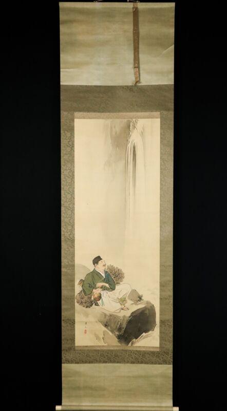 Lovely Nihonga Scene Meiji/Taisho Period Scroll Japan Artist Suzuki Kaso...
