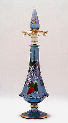 Egyptian Perfume Bottle   Premium Blown Glass   Blue   Hand Painted  7 64 25