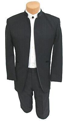 Men's Jean Yves Mirage Black Tuxedo Jacket with Satin Mandarin Nehru Collar   - Jean Yves Tuxedos