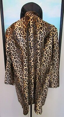 Faux Fur Leopard Cheetah Leather Trim Swing Coat by Nygard Collection Plus Sz 20