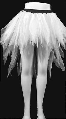 WHITE SEVEN LAYERS LONG TRASHY PETTICOAT PEACOCK BUSLTE HALLOWEEN RAVE CHRISTMAS (Peacock Skirt Halloween)