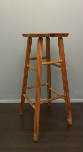 "Antique Wood Antique Farmhouse Kitchen Stool 30""H Folk Art Primitive Shop Bar"