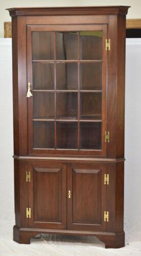 Henkel Harris Mahogany Corner Cabinet 12 Pane Chippendale Style #29 Stain