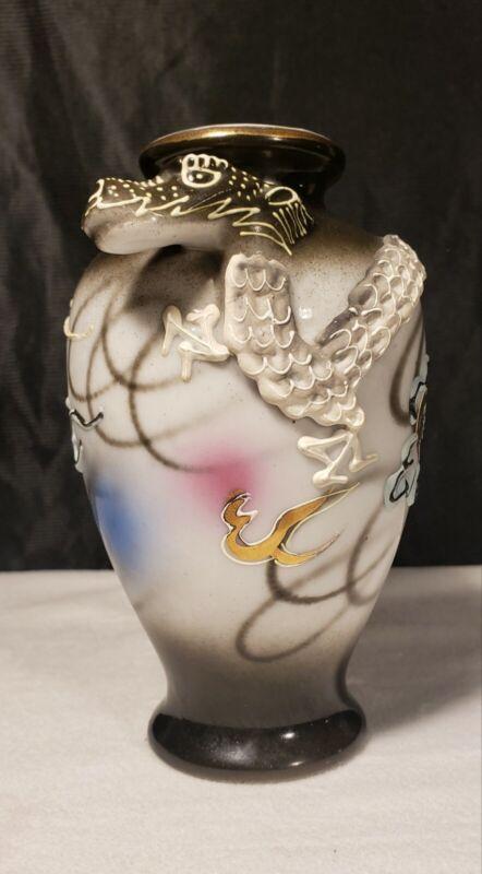 "Vintage Japan Unique Dragonware Vase with 3D Dragon 5 1/4"" Long Heavy Moriage"