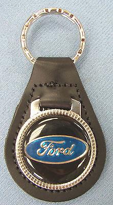Vintage Blue FORD OVAL Black Leather Chrome Keyring 1943 1944 1945 1946 1947