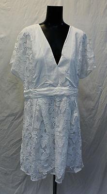 Boohoo Women's Plus Lace Panel Woven Skater Dress MW7 White Size US:14 UK:18 NWT