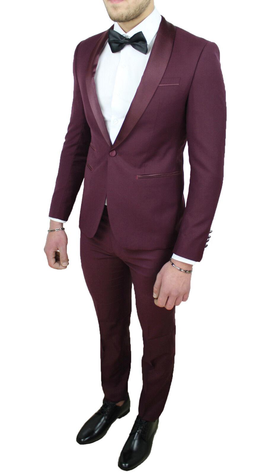 Vestito Matrimonio Uomo Bordeaux : Abito uomo diamond raso bordeaux sartoriale completo