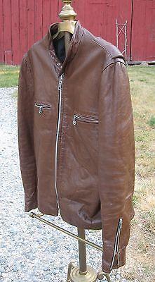 Leather Café Racing Motorcycle Jacket Vintage Men's Brown Reed USA Sz 44 Lg ?