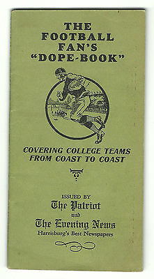 1929 Football Fan's Dope Book Collegiate Schedules Patriot Evening Harrisburg PA