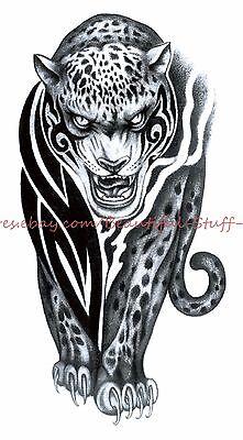 US SELLER-cool fake tattoos Halloween puma big wild cat 8.25