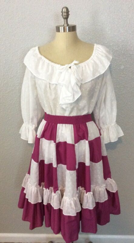 Vtg Malco Modes Partners Please 2 pc Square Dancing Checkered Skirt S Blouse M