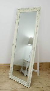Isabella Vintage Cream Shabby Chic Full Length Antique Cheval Mirror 60