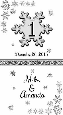 10 Personalized Snowflake Wedding Luminaries Table Numbers Centerpieces Decor #1 - Snowflake Wedding Centerpieces