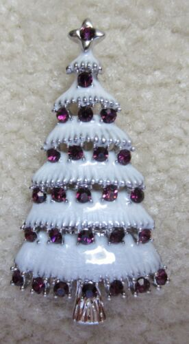 CHRISTMAS TREE PURPLE AUSTRIAN CRYSTAL BROOCH PIN