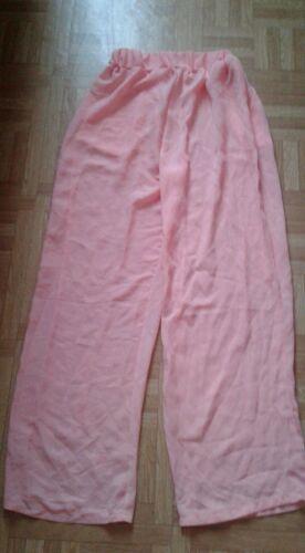 Pantalon fluide large rose t s