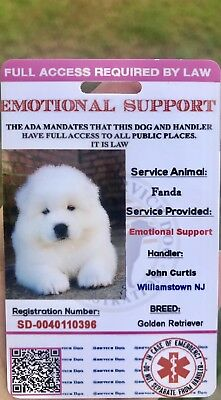 Pink EmotionalSupport Dog Card ID Assistance Animal Badge ADA ESA With QR Code - Pink Card