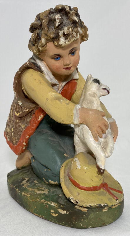 """Plaster Nativity Shepherd with Sheep Figurine Hand Painted 10.5""""H Antique Damage"""