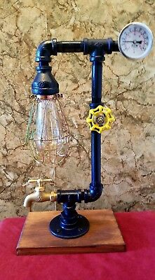 Handcrafted Industrial style Home Desk andTable lamp with on/off valve