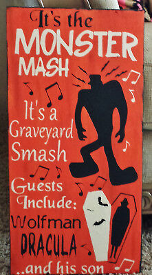 Primitive Sign Monster Mash Halloween Frankenstein Dracula Party - Monster Mash Halloween Party
