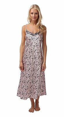 Ladies Women's New BHS Long Pink Satin Floral Chemise  Sizes 8,10,12 and 14  - Satin Floral Bhs
