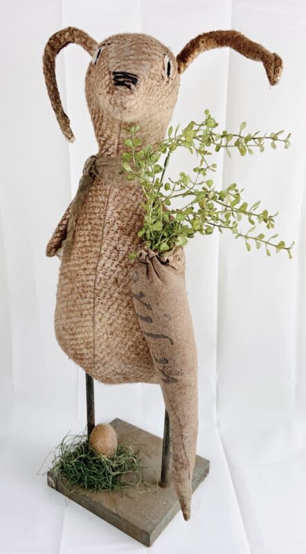 "Vintage Easter Primitive Handmade Bunny Rabbit 20"" Folk Art OOAK Stuffed Doll"