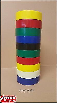 10 Mixto Multicolor PVC Cinta Eléctrica Aislante 20M Profesional Ignifugo