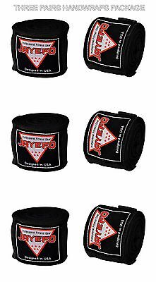 "Jayefo 3 PAIRS Boxing Hand Wraps Bandages Fist Inner Boxing Gloves 180"" 4.5meter"