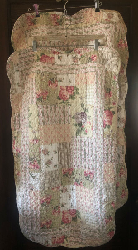 2 Vintage King Size Floral Cottage Country Quilted Pillowcases