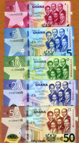 SET Ghana, 1-5-10-20-50 Cedi, 2019, P-New, UNC > Upgraded security features