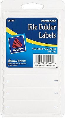 Avery Permanent File Folder Labels 2.75 X 0.625 Inches White 156 Ea