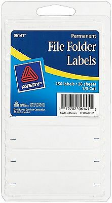 Avery White Filing Labels - Avery Permanent File Folder Labels 2.75 x 0.625 Inches, White 156 ea