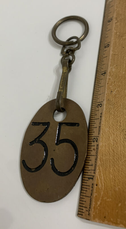 "Vintage Brass Cattle Tag or Hotel Key Chain Fob ""3 Numbered 35"