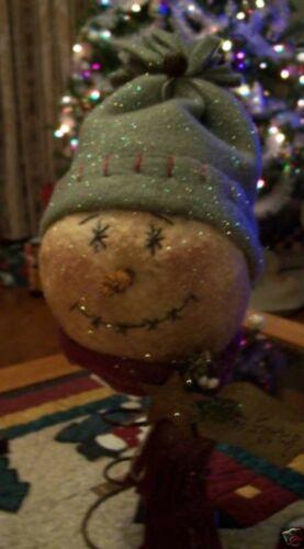 PATTERN~on cd/primitive snowman bobble head rusty spring/CHRISTMAS/WINTER/PT20