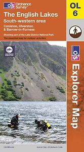 Lake District South Western Scafell Coniston Barrow Ulverston OL6 Explorer MAP