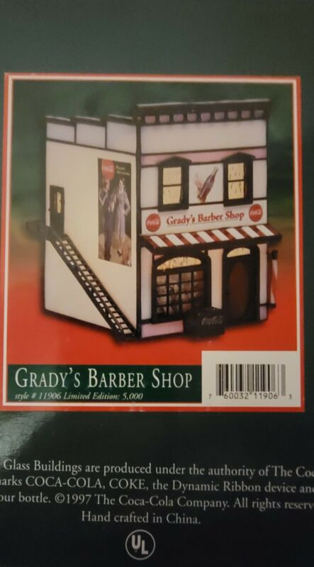 "RARE Forma Vitrum Stained Glass ""Gradys Barber Shop"" Coca Cola 1998"