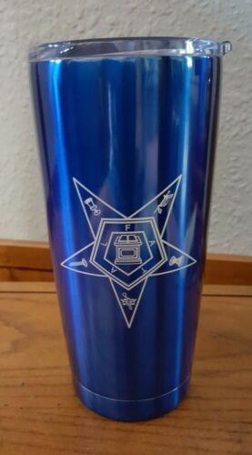 Order of Eastern Star 20 oz Stainless Steel Drinkware OES Blue Slide top hot col