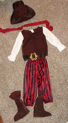 Toddler Boys Pirate High Seas Buccaneer Costume Pants Shirt Hat Boot Tops 3-4T