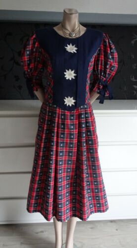 German Austrian Trachten Dress Red Blue Edelweiss 12