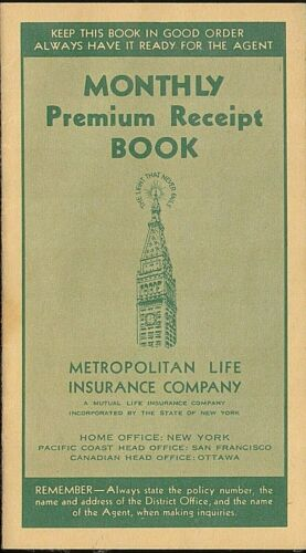 Monthly Premium Receipt Book Metropolitan Life Insurance Company Circa 1941