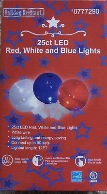 HOLIDAY BRILLIANT 25ct LED globe G40 RED WHITE BLUE String Lights party July 4th (Holiday Led Lights)