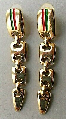 "Vintage 70s Gucci Earrings 2 3/4"" Drop Gold Tone Red Green Strip Pierced"