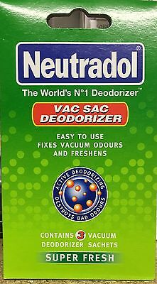 NEW NEUTRADOL VAC SAC DEODORIZER 3 SACHETS SUPER FRESH FRAGRANCE